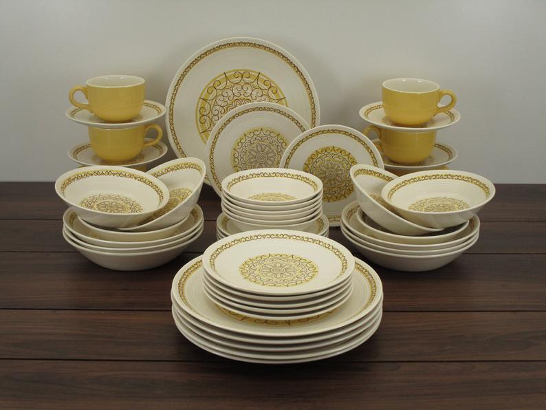 retro dinnerware set in yellow
