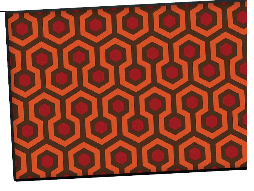 mid century modern patio door mat inspired by the Overlook Hotel from the Shining in a red orange and black hex pattern