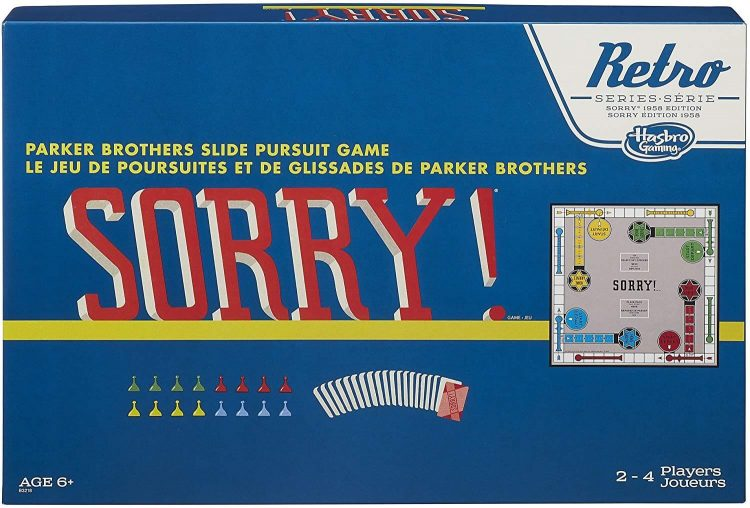 """A retro """"Sorry!"""" game board with a blue cover."""