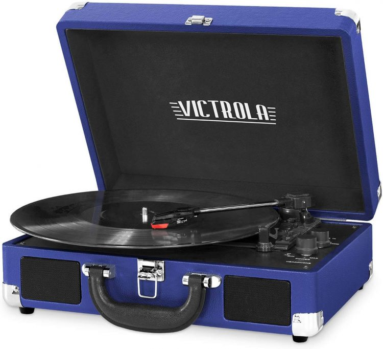 A classic blue record player with a velvety-black interior.