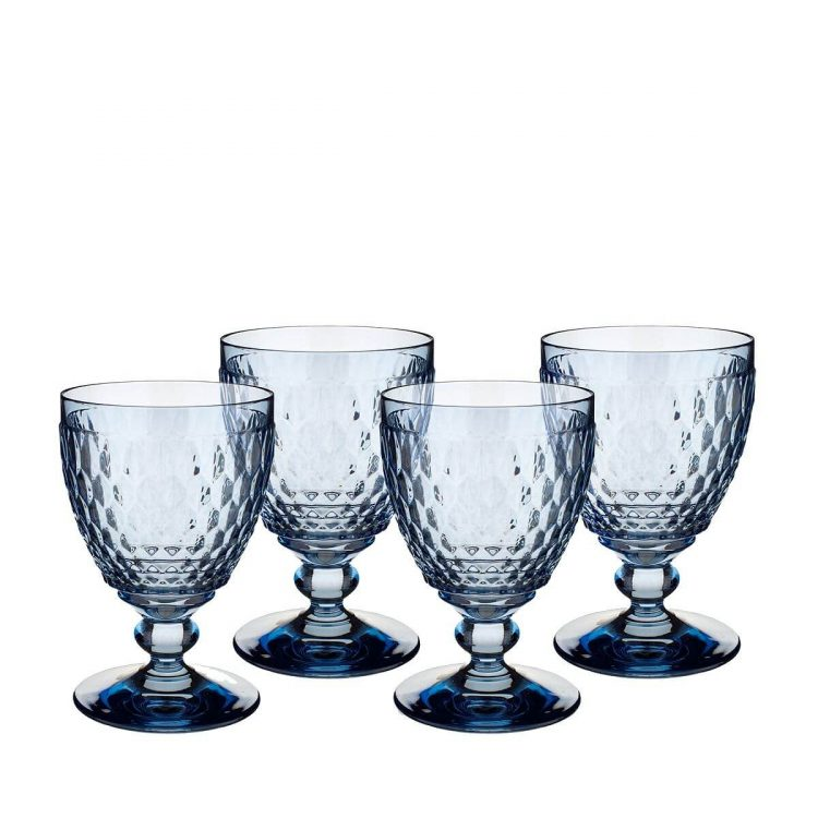 Color of the year, classic blue, glass goblets.