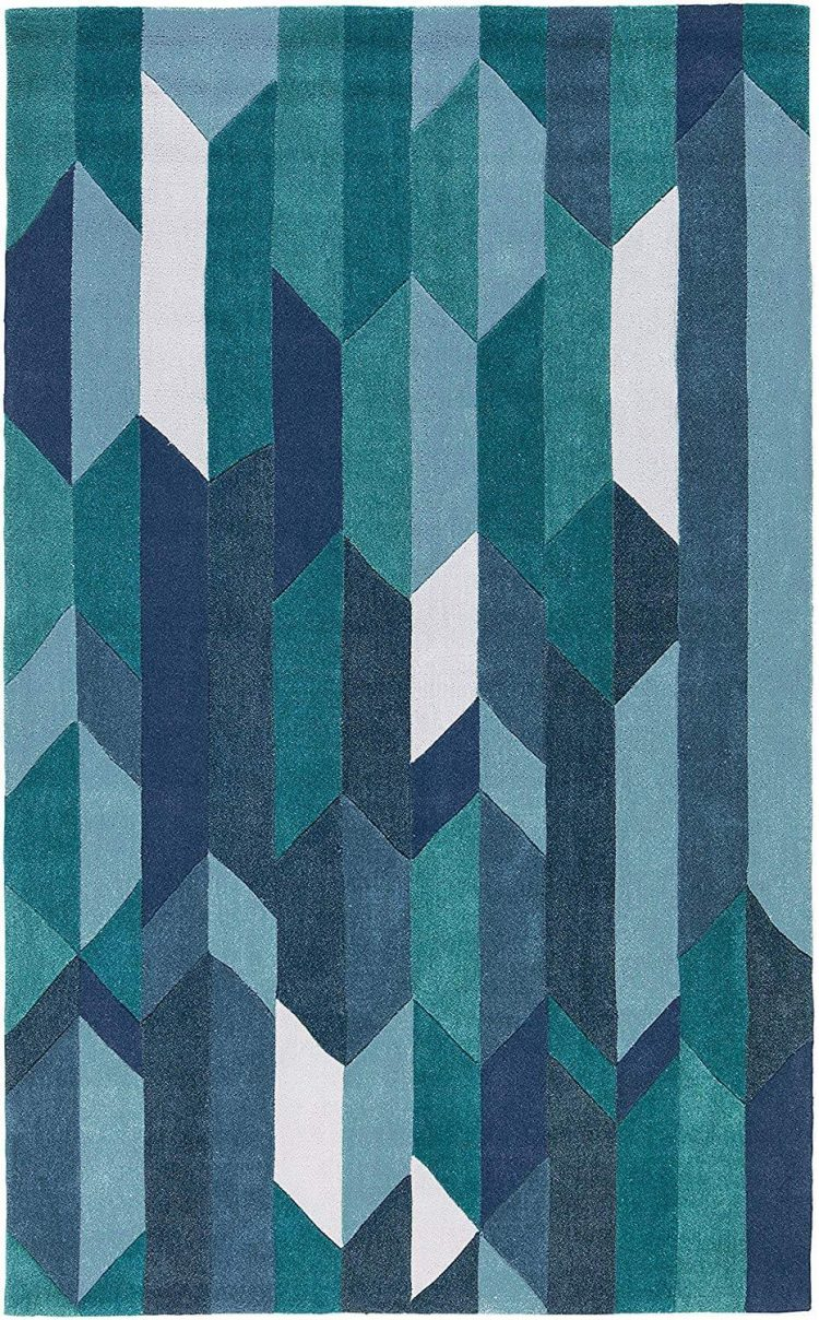 A mid century color-blocked rug sporting the color of the year, classic blue.