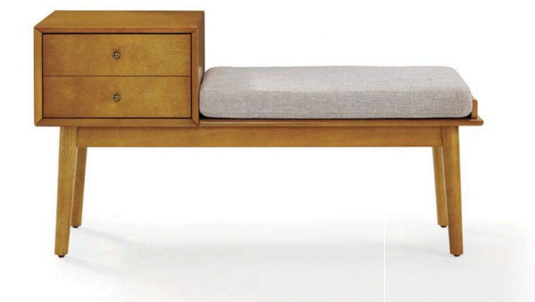 A mid century bench with a wooden cabinet attached and gray cushion.
