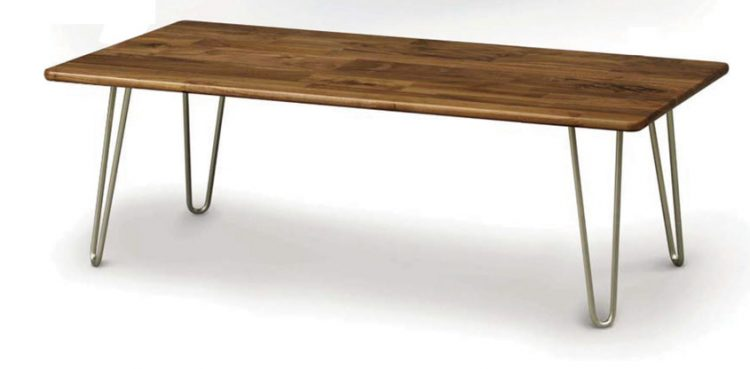 A mid century bench with a polished-walnut finish and metal legs.