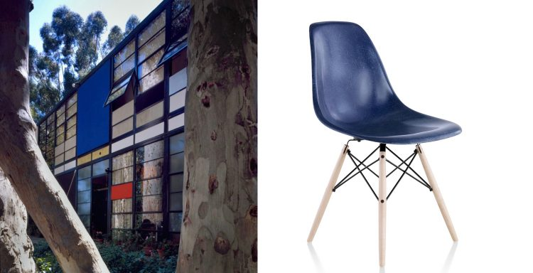 The Eames House and Herman Miller blue fiberglass chair.