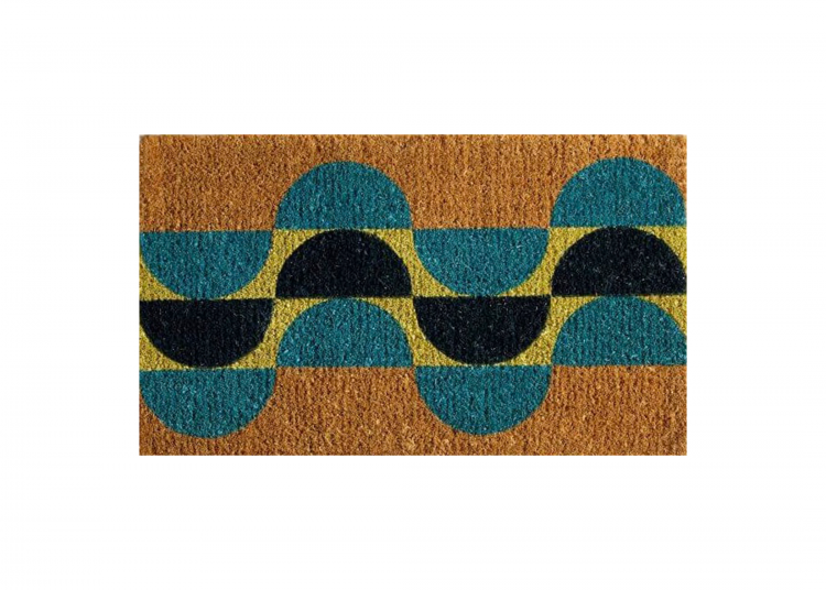 A mid mod entertaining welcome mat complete with alternating blue and black semi circles.