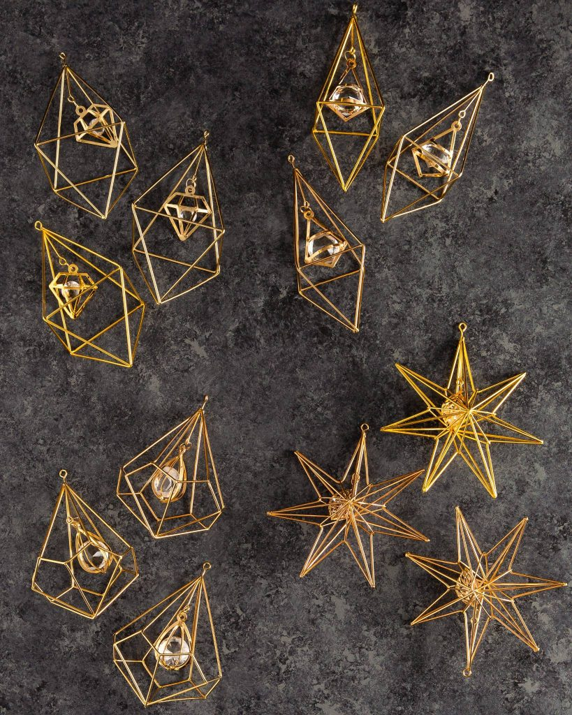 gold geometric modern christmas ornaments