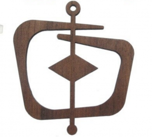 laser cut walnut veneer wood ornament