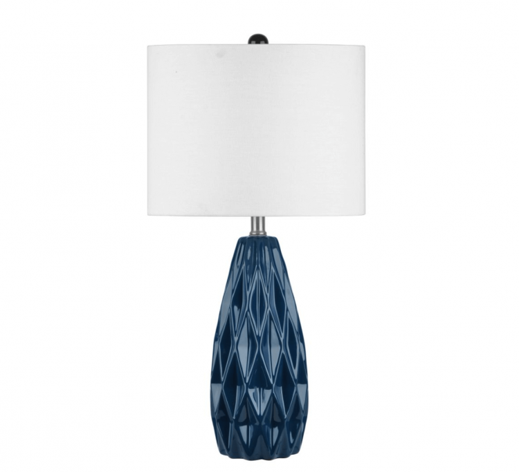 A classic blue lamp with a diamond-shaped design scheme, displaying the color of the year.