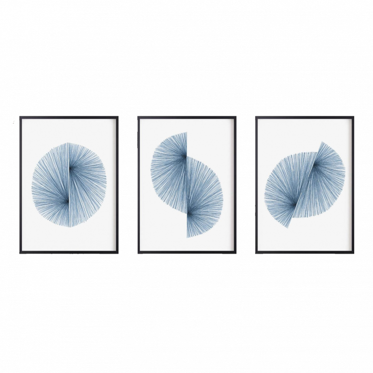 A collection of starburst wall paintings colored classic blue.