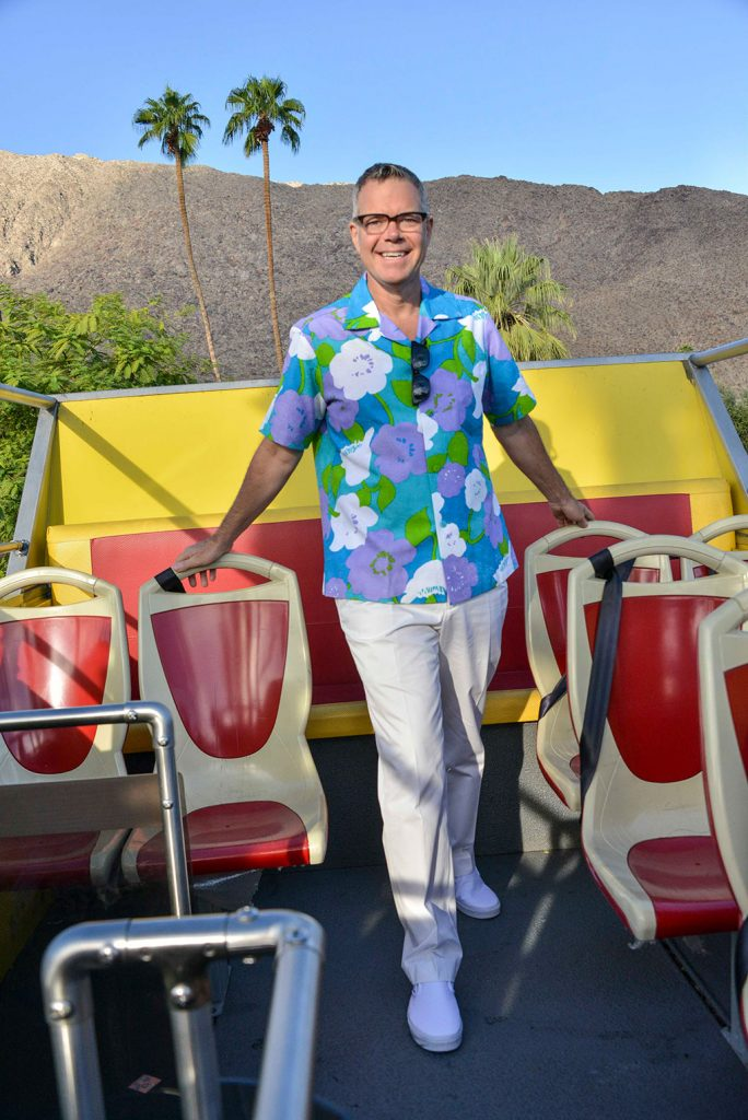 Phoenix hosts a signature double decker bus tour at Modernism Week each year which blends his signature humor with interesting facts and history of Palm Springs sites and neighborhoods.