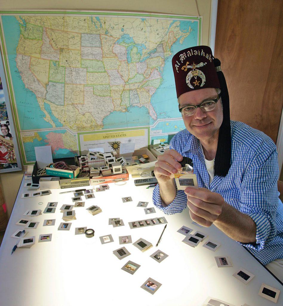 Charles Phoenix sorting vintage Kodachrome slides.