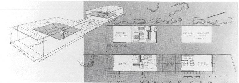 eames house floor plan blue print