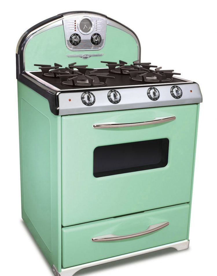 Mid century kitchens mint green oven.