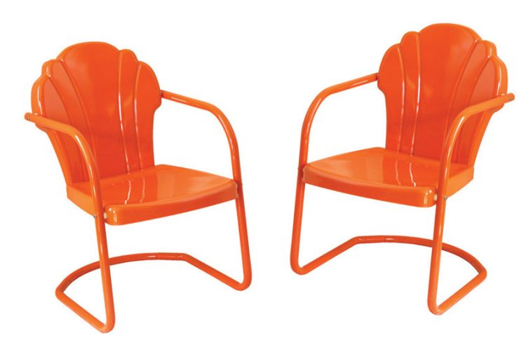 Butterfly-back orange metal chairs for awesome curb appeal.