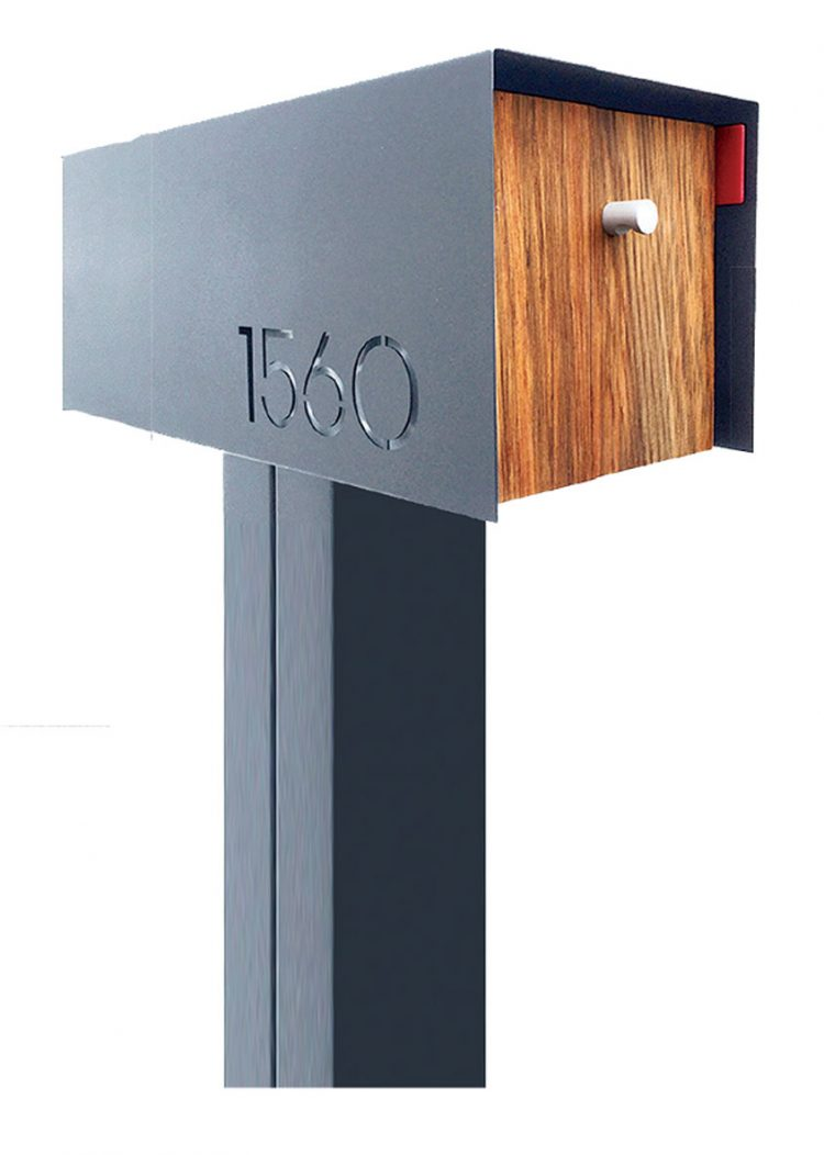 MCM mailbox with a metal frame and wooden door for awesome curb appeal.