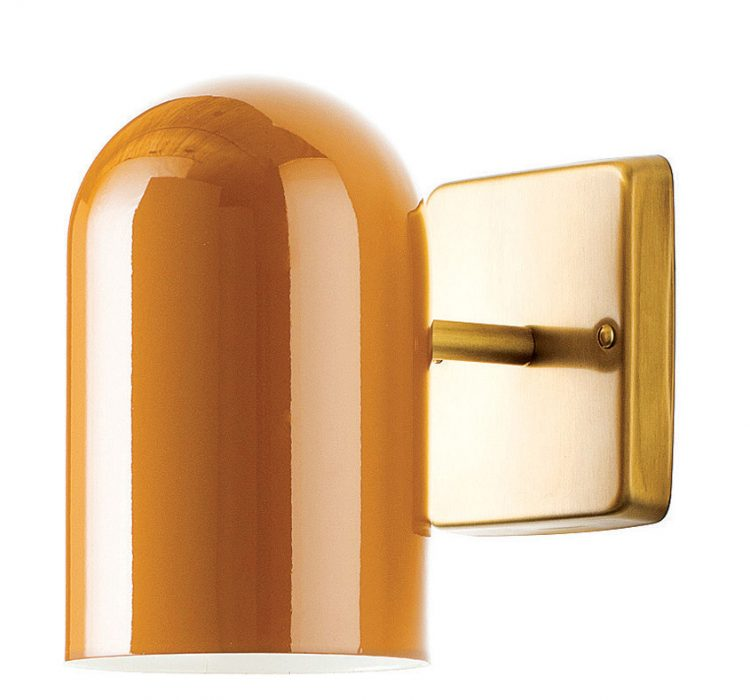 A butterscotch-colored sconce for awesome curb appeal.