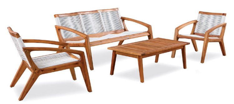 MCM couch, table, and chairs with woven-hammock seating and wood exteriors for awesome curb appeal.