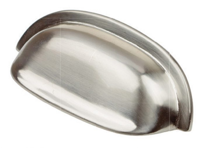 Nickel drawer pull for all mid century kitchens.