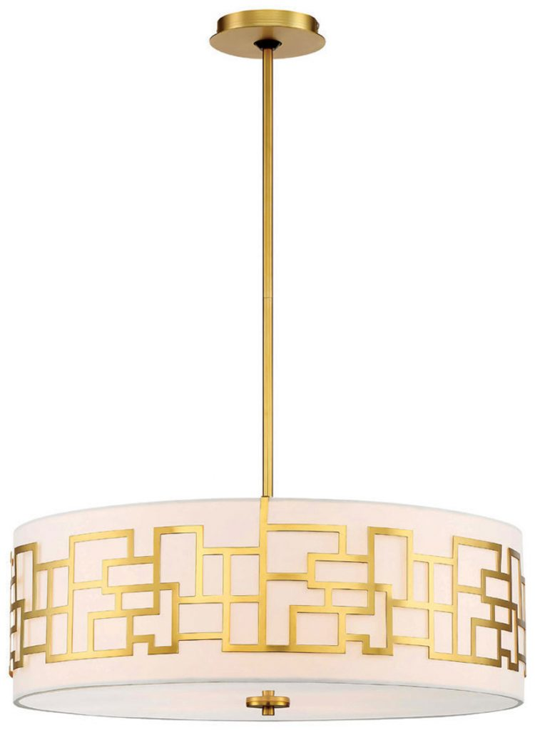 A light fixture with a circular shade and gold embellishments.