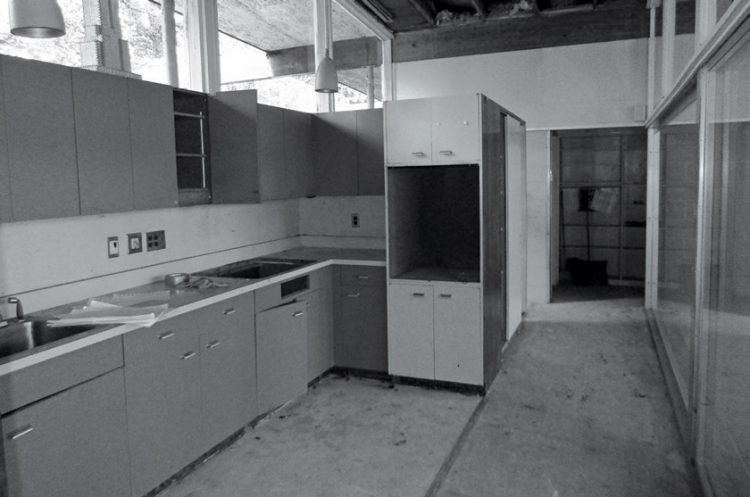 A kitchen undergoing a mid century makeover.