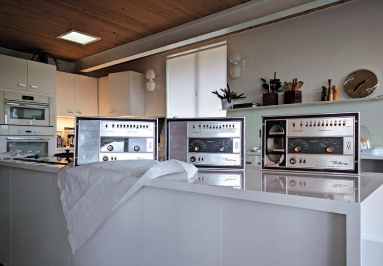 Three silver Nutone intercoms in the Case Study House by the budget.