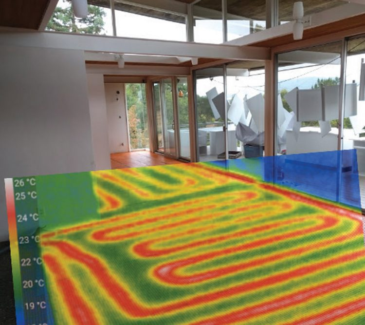 The infrared system spotlighting the radiating heating loops in the Case Study House on a budget.
