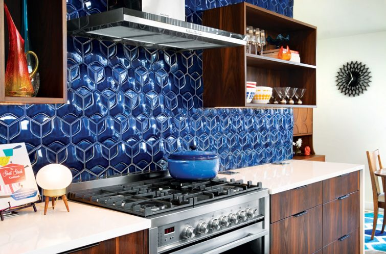 elements of a mid century modern kitchen tile