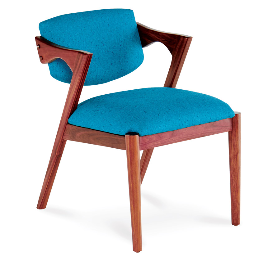 Joybird turquoise and walnut dining chair