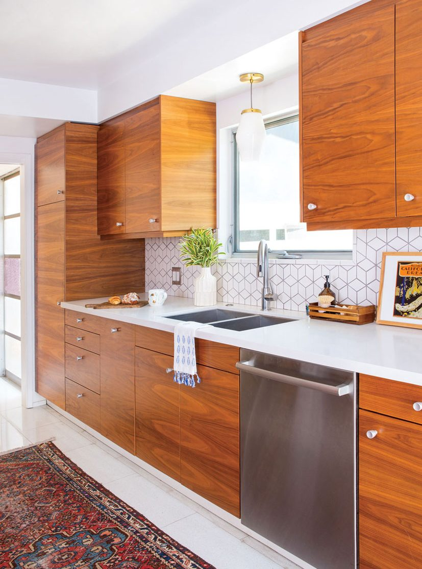 elements of a mid century modern kitchen wood