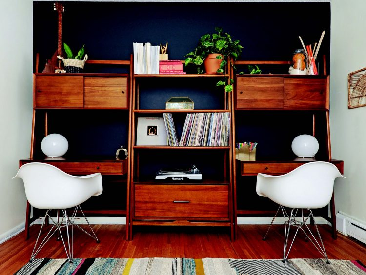 mid century modern home office for two people family