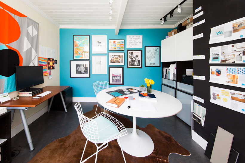 mid century modern home office for two people