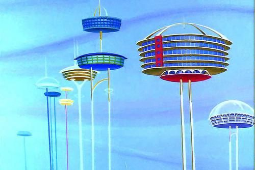 Mid century movie googie homes on poles in the sky.
