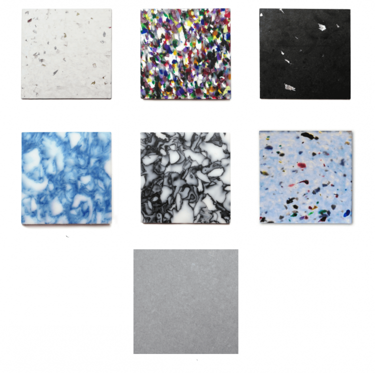 A variation of multi-colored tile options wih some reminiscent of terrazzo tile.