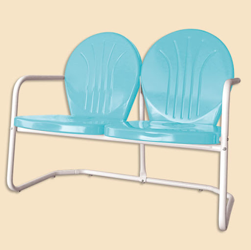 Metal blue chairs melded into a loveseat.