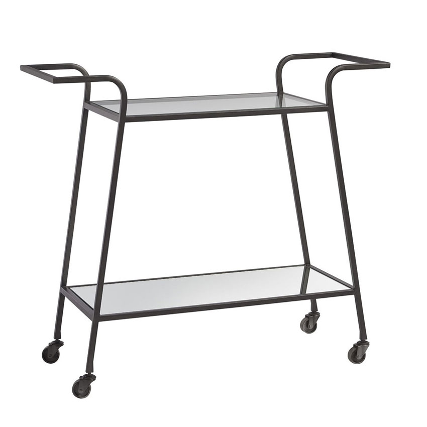 retro style all-metal bar cart