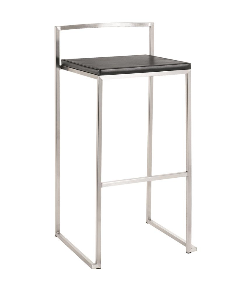 silver and black leather countertop stool