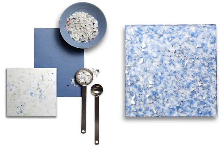 Blue and white speckled tile highlighting Smile Plastic's process.