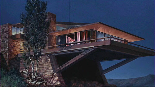 Mid century movie with a horizontally-oriented home and balcony.