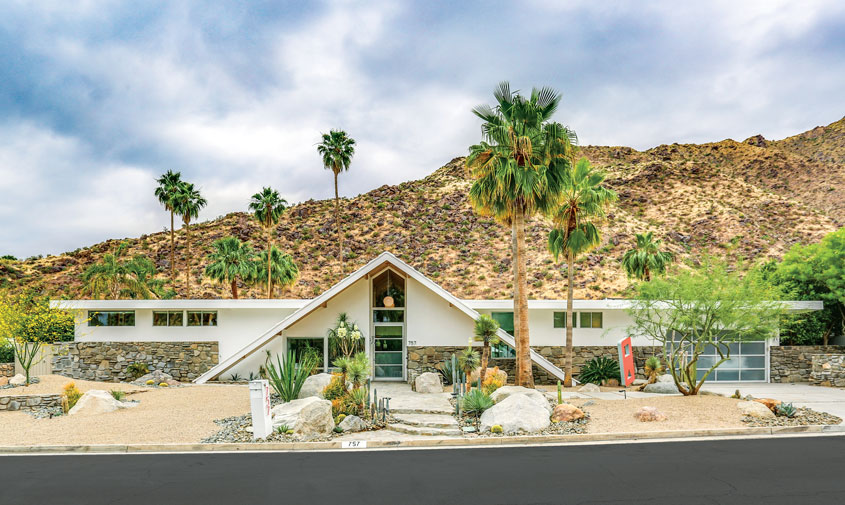 A Charles Du Bois home in Palm Springs. It's striking a-frame roofline contrasts starkly agains the san jacinto mountains.