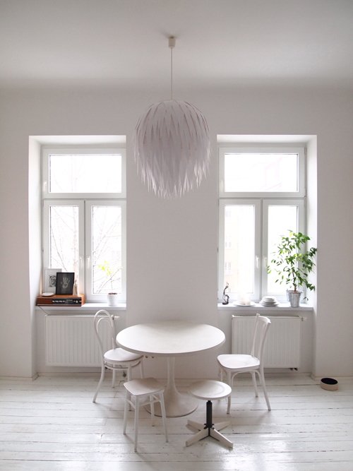 mid century diys: artichoke lampshade above seating area