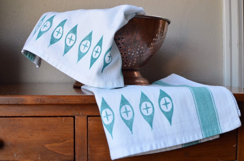 Retro Etsy Shop Vintage Pyrex Atomic Eye Inspired Hand Printed tea towel - Mid Century Modern Kitchen Towel - Pyrex Turquoise Dish Towel Set