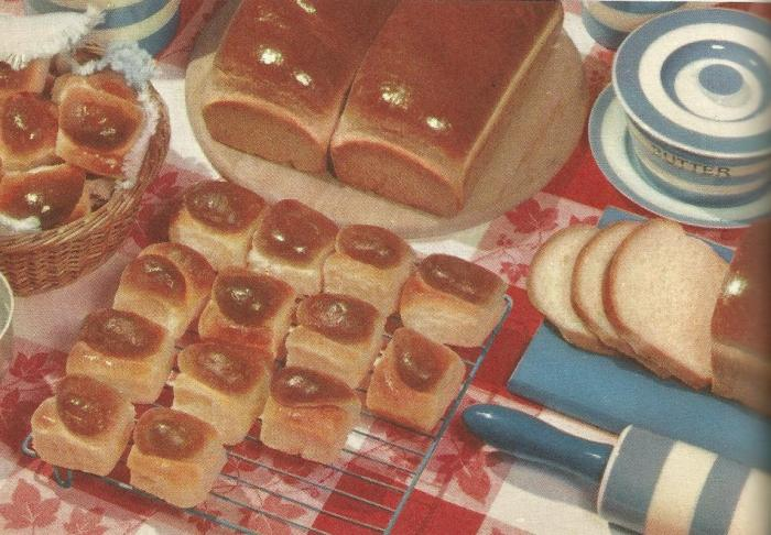 Vintage recipes photo of breads on table
