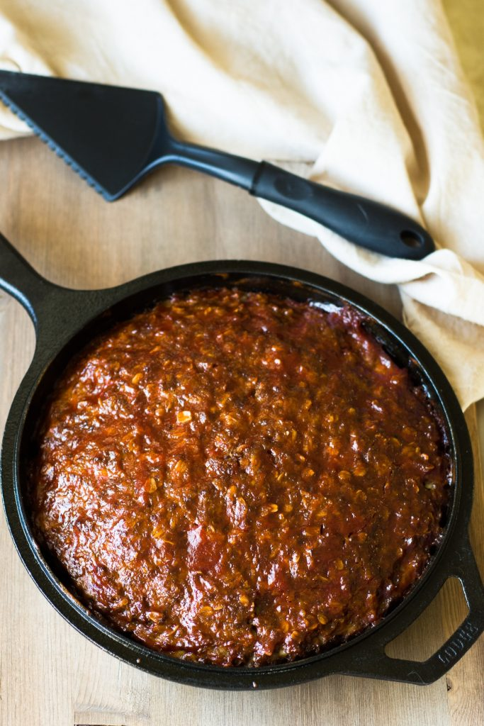 old fashioned meatloaf in a cast iron skillet