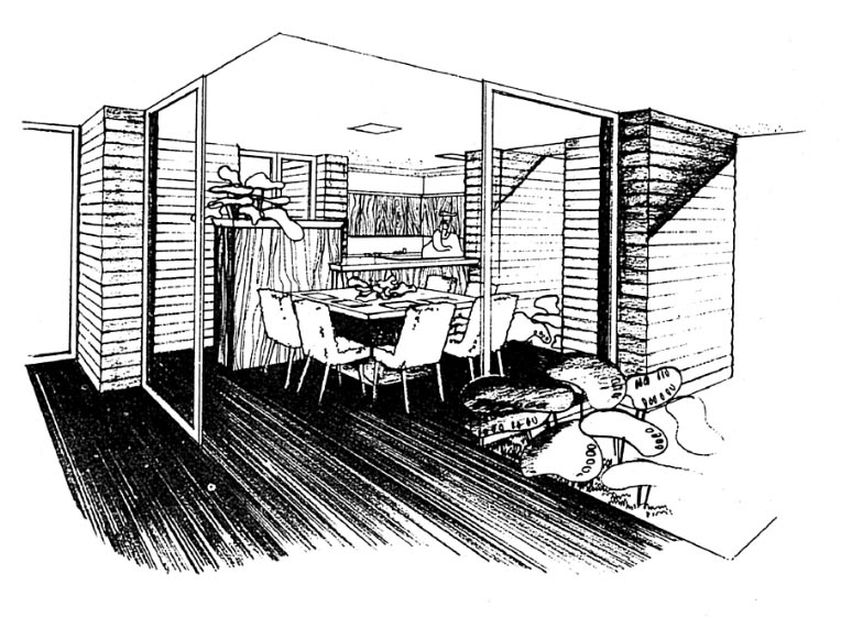A black and white rendering of the dining area which sits directly off the loggia while a counter and storage unit separate the kitchen from the dining space.
