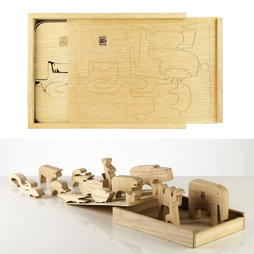 Enzo Mari Wood puzzle peices
