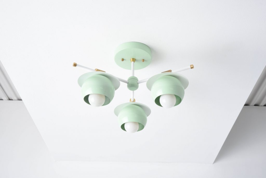 Semi Flush Ceiling Light by Illuminate Vintage. Retro Etsy. Available in Mint Green, Mauve Black & Brass