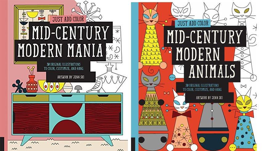 mid century modern coloring books by Jenn Ski