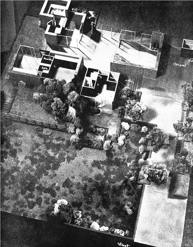 Model by Eddington, Photographs by Julius Shulman. Courtesy of Arts & Architecture, April 1946. Looking above and into this model, you can clearly see the interconnected square areas and how they can open or close depending on the family's needs