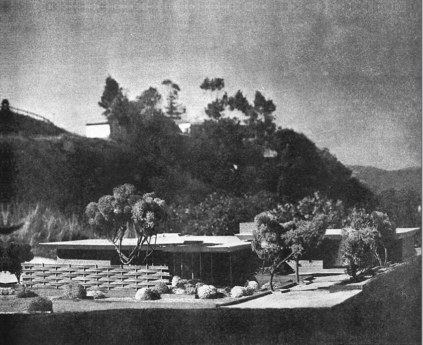 Model by Eddington, Photographs by Julius Shulman. Courtesy of Arts & Architecture, April 1946. Model showing the East elevation against the hills, illustrating what the home would look like in its natural surroundings,